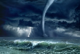 Tornado, lightning, sea