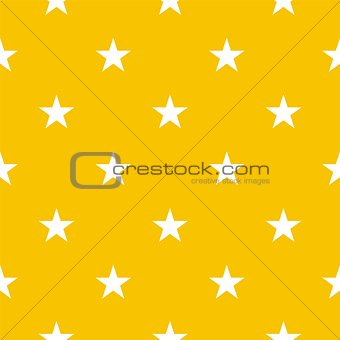 Seamless vector pattern or texture with white stars on a sunny yellow background.