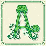 Green initial A