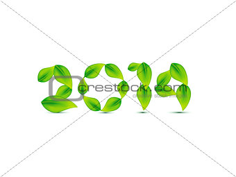 abstract green leaf based new year text