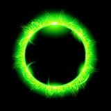 Solar corona with green beam.