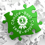 Best Choice Concept on Green Puzzle Pieces.