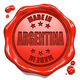 Made in Argentina - Stamp on Red Wax Seal.