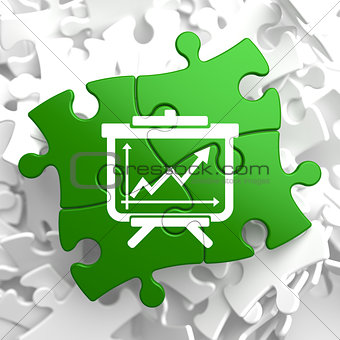 Flipchart with Growth Chart Icon on Green Puzzle.