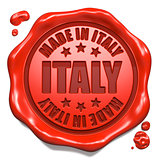 Made in Italy - Stamp on Red Wax Seal.