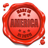 Made in America - Stamp on Red Wax Seal.