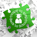 Back to School on Green Puzzle Pieces.