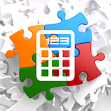 Calculator Icon on Multicolor Puzzle.