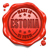 Made in Estonia - Stamp on Red Wax Seal.