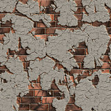 Cracked Brick Wall. Seamless Tileable Texture.