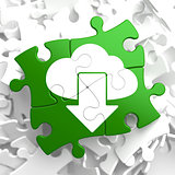Cloud with Arrow Icon on Green Puzzle.