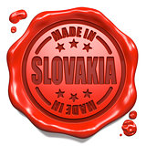 Made in Slovakia - Stamp on Red Wax Seal.