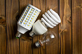 various types of lightbulbs