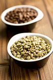 green coffee beans in ceramic bowl