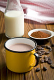 cocoa drink in tinny cup