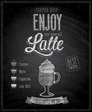 Vintage Latte Poster - Chalkboard.