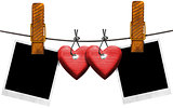 Romantic Blank Photos Hanging on Rope