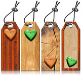 Set of Wooden Tags with Hearts