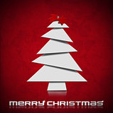 Stylized Christmas Tree on Red Velvet Background
