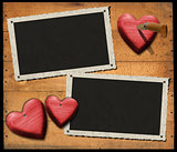 Two Romantic Photo Frames on Wood Wall