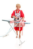 Senior Lady Ironing - Full Body
