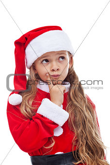 Thinking Santa - little girl in seasonal outfit