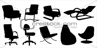 Chairs and Armchairs Design Silhouette