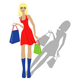 Fashion blond model with shopping bags