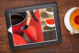 tea and digital tablet