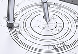 Compass on the drawing