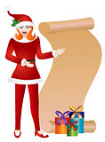 Girl Santa with Scroll List Illustration