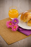 Croissants with orange juice