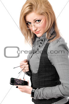 Portrait of young blonde with smartphone