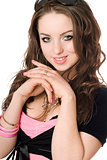 Closeup portrait of pretty young woman. Isolated