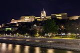 Royal Palace of Buda, Budapest  illuminated, night view, Budapes
