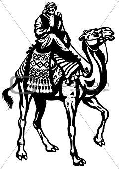 camel rider black white