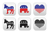 USA political parties button: democrats and repbublicans