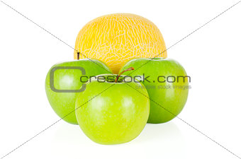 Fresh and tasty apples and melon isolated on white