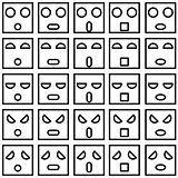 Icons of smiley emotion faces. Vector illustration.