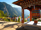 View of the Taktshang monastery in Paro (Bhutan) with prayer fla