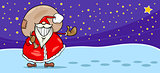 Santa Claus with presents cartoon card