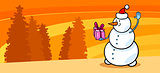 Snowman Santa with gift cartoon card