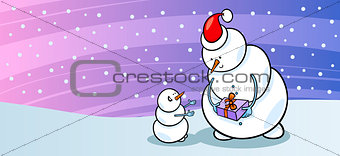 Snowman Santa with gift greeting card