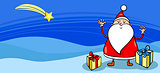 Santa with presents greeting card