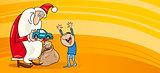 Santa with little boy greeting card