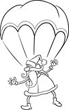 santa on parachute cartoon coloring page