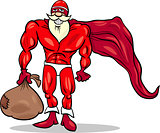 super hero santa cartoon illustration