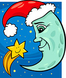 moon and star christmas cartoon