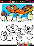 cartoon mushrooms for coloring book