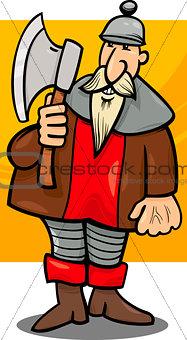 knight with axe cartoon illustration